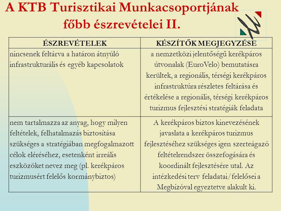 A KTB Turisztikai Munkacsoportjának főbb észrevételei II. ÉSZREVÉTELEKKÉSZÍTŐK MEGJEGYZÉSE nincsenek feltárva a határon átnyúló infrastrukturális és e
