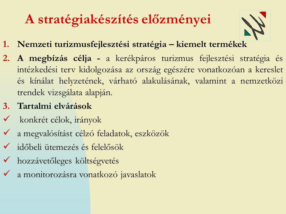 A stratégiakészítés folyamata  Helyzetfeltárás (hazai és nemzetközi keresleti-kínálati trendek, best practice példák)  Partnerség a helyzetértékelés és a stratégiaalkotás folyamatában:  Szakértői interjúk hazai és nemzetközi kerékpáros civil szervezetek képviselőivel, kerékpáros és kapcsolódó szakterületek szakértőivel, kerékpárosbarát szálláshelyekkel  Szakértői workshopok (Budapesten és vidéken), 30 szakértő részvételével  Online kérdőíves felmérés (866 beérkezett kérdőív)  Fejlesztési stratégia és intézkedési terv kidolgozása  Egyeztetések, konzultációk