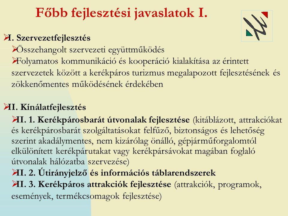 Főbb fejlesztési javaslatok II. II. 4.