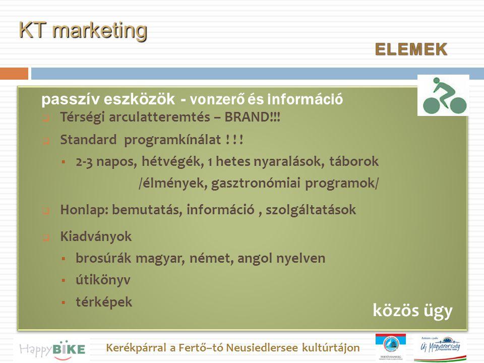 Kerékpárral a Fertő–tó Neusiedlersee kultúrtájon passzív eszközök - vonzerő és információ KT marketing közös ügy  Térségi arculatteremtés – BRAND!!.