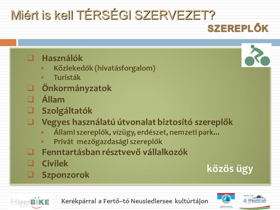 Kerékpárral a Fertő–tó Neusiedlersee kultúrtájon  Használók  Közlekedők (hivatásforgalom)  Turisták  Önkormányzatok  Állam  Szolgáltatók  Vegyes használatú útvonalat biztosító szereplők  Állami szereplők, vízügy, erdészet, nemzeti park...