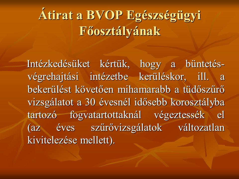 Átirat a BVOP Egészségügyi Főosztályának Intézkedésüket kértük, hogy a büntetés- végrehajtási intézetbe kerüléskor, ill. a bekerülést követően mihamar