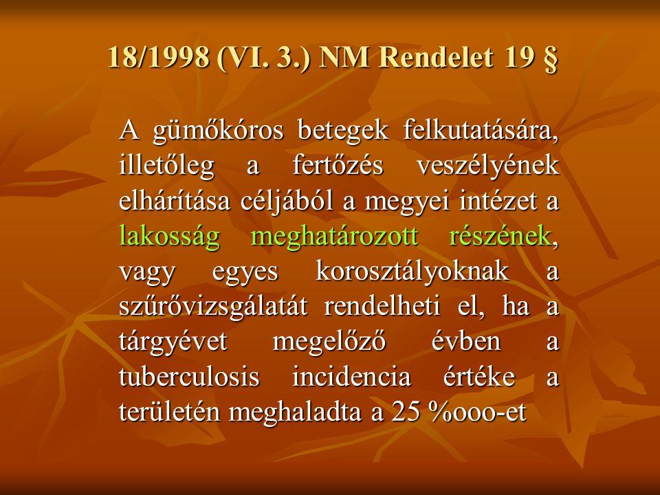 18/1998 (VI. 3.) NM Rendelet 19 § A gümőkóros betegek felkutatására, illetőleg a fertőzés veszélyének elhárítása céljából a megyei intézet a lakosság