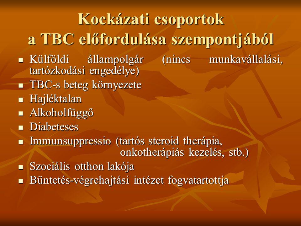 Kockázati csoportok a TBC előfordulása szempontjából  Külföldi állampolgár (nincs munkavállalási, tartózkodási engedélye)  TBC-s beteg környezete 