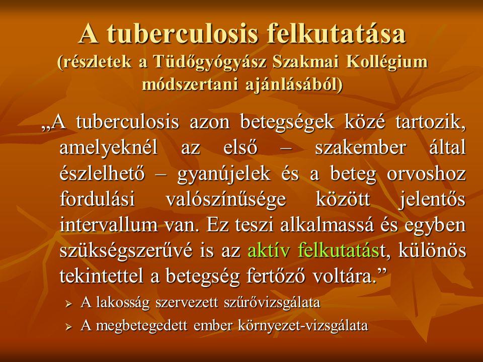 """A tuberculosis felkutatása (részletek a Tüdőgyógyász Szakmai Kollégium módszertani ajánlásából) """"A tuberculosis azon betegségek közé tartozik, amelyek"""