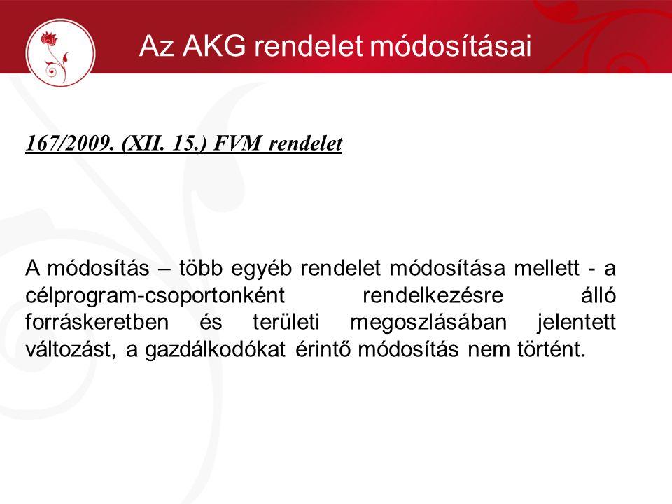 167/2009. (XII. 15.) FVM rendelet A módosítás – több egyéb rendelet módosítása mellett - a célprogram-csoportonként rendelkezésre álló forráskeretben
