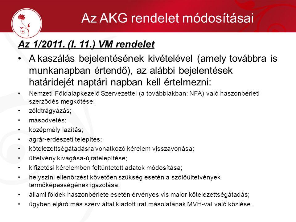 Az 1/2011. (I. 11.) VM rendelet •A kaszálás bejelentésének kivételével (amely továbbra is munkanapban értendő), az alábbi bejelentések határidejét nap