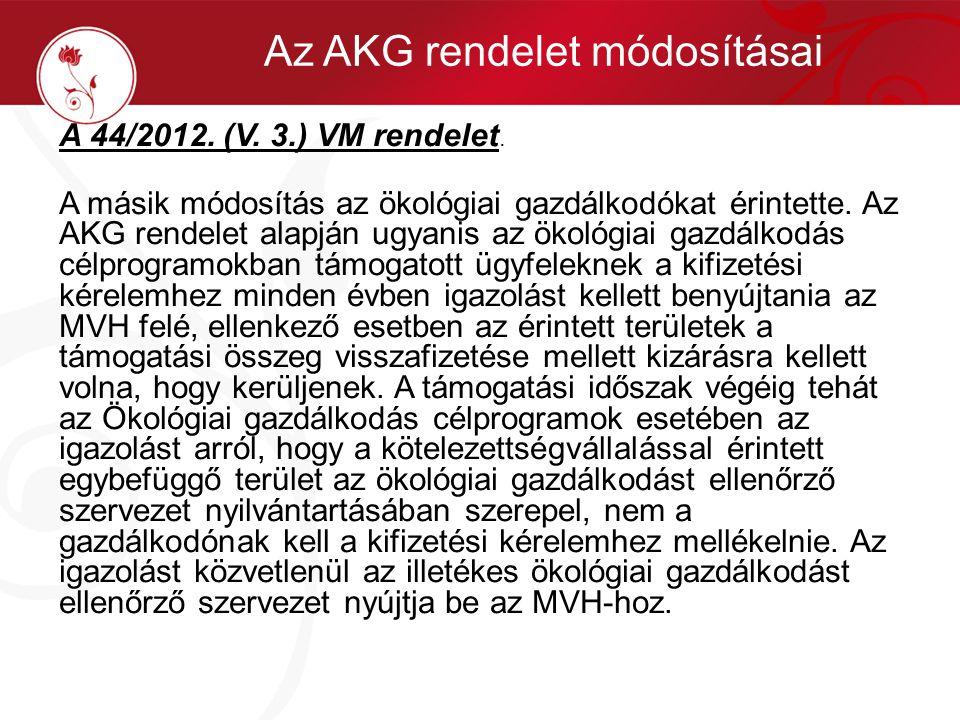 A 44/2012. (V. 3.) VM rendelet. A másik módosítás az ökológiai gazdálkodókat érintette. Az AKG rendelet alapján ugyanis az ökológiai gazdálkodás célpr
