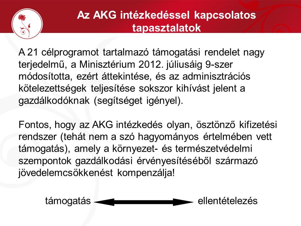 Az AKG intézkedéssel kapcsolatos tapasztalatok A 21 célprogramot tartalmazó támogatási rendelet nagy terjedelmű, a Minisztérium 2012. júliusáig 9-szer