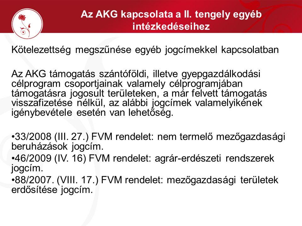 Az AKG kapcsolata a II. tengely egyéb intézkedéseihez Kötelezettség megszűnése egyéb jogcímekkel kapcsolatban Az AKG támogatás szántóföldi, illetve gy