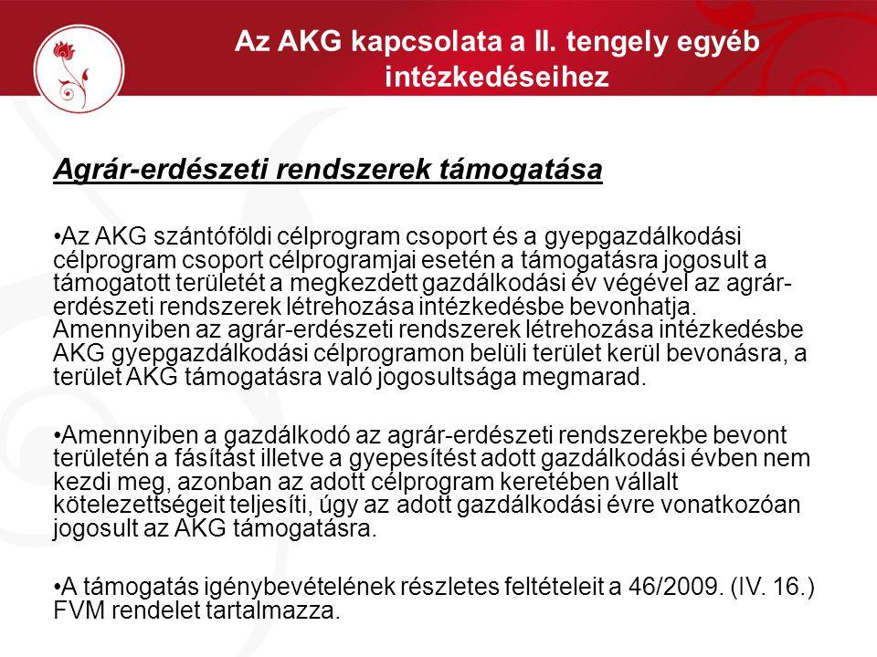 Az AKG kapcsolata a II. tengely egyéb intézkedéseihez Agrár-erdészeti rendszerek támogatása •Az AKG szántóföldi célprogram csoport és a gyepgazdálkodá