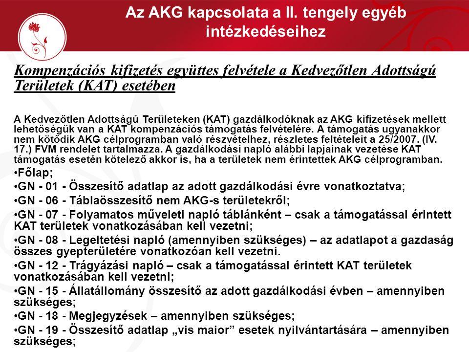 Az AKG kapcsolata a II. tengely egyéb intézkedéseihez Kompenzációs kifizetés együttes felvétele a Kedvezőtlen Adottságú Területek (KAT) esetében A Ked