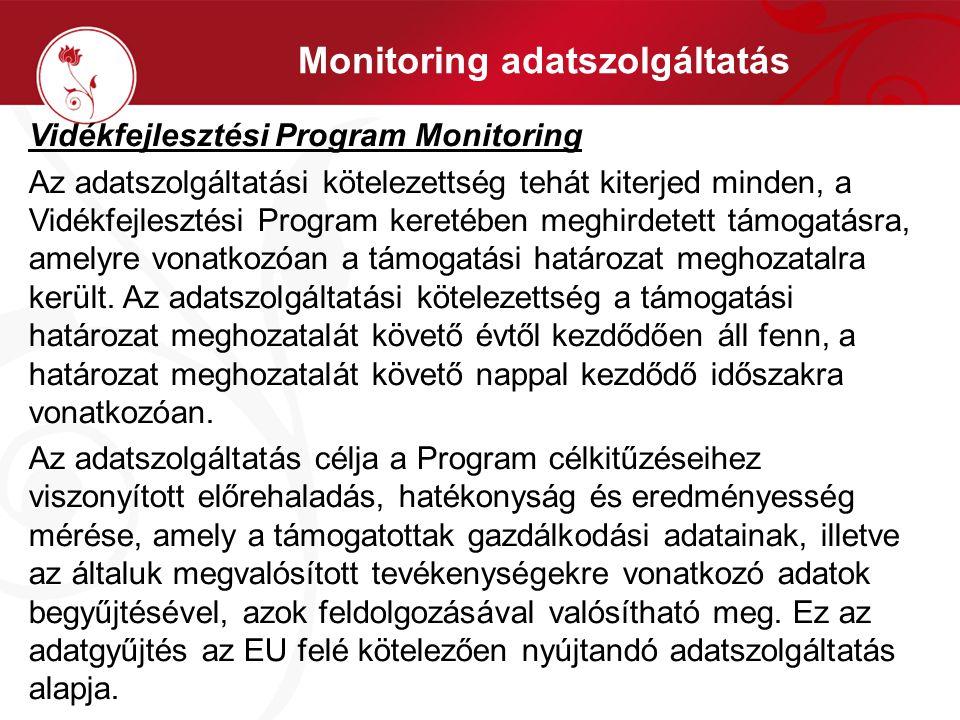 Monitoring adatszolgáltatás Vidékfejlesztési Program Monitoring Az adatszolgáltatási kötelezettség tehát kiterjed minden, a Vidékfejlesztési Program k