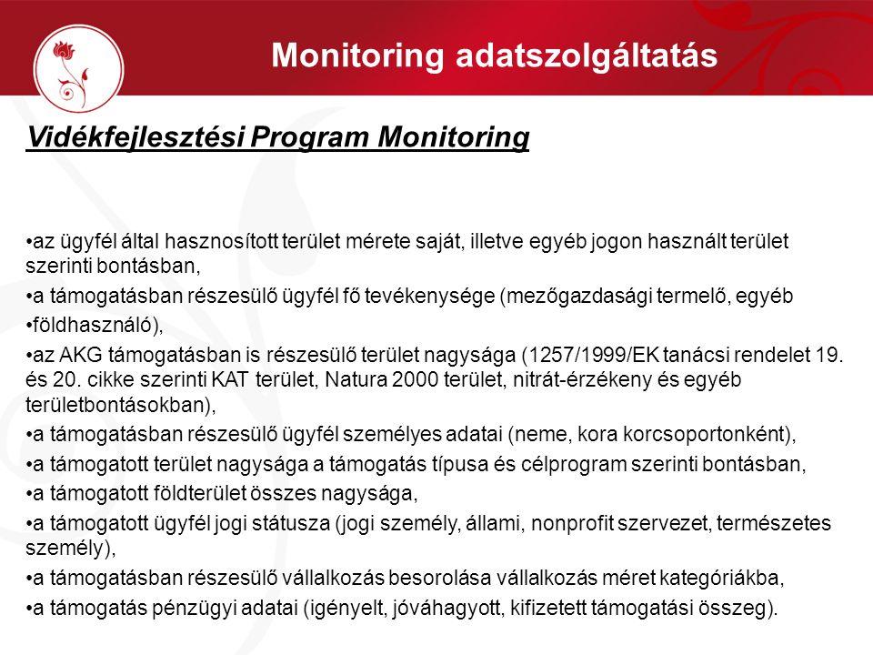 Monitoring adatszolgáltatás Vidékfejlesztési Program Monitoring •az ügyfél által hasznosított terület mérete saját, illetve egyéb jogon használt terül