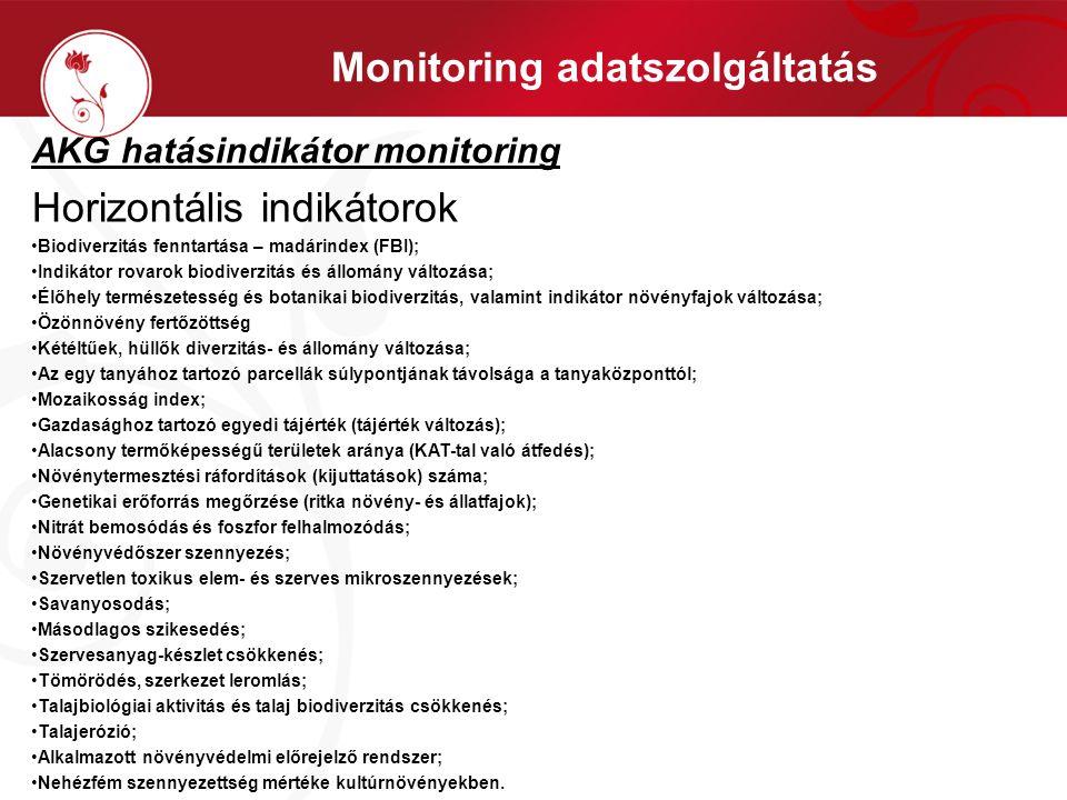 Monitoring adatszolgáltatás AKG hatásindikátor monitoring Horizontális indikátorok •Biodiverzitás fenntartása – madárindex (FBI); •Indikátor rovarok b