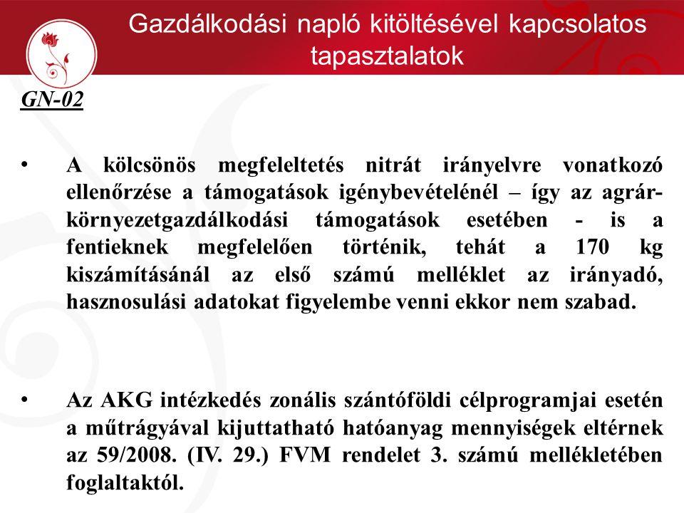 Gazdálkodási napló kitöltésével kapcsolatos tapasztalatok GN-02 • A kölcsönös megfeleltetés nitrát irányelvre vonatkozó ellenőrzése a támogatások igén
