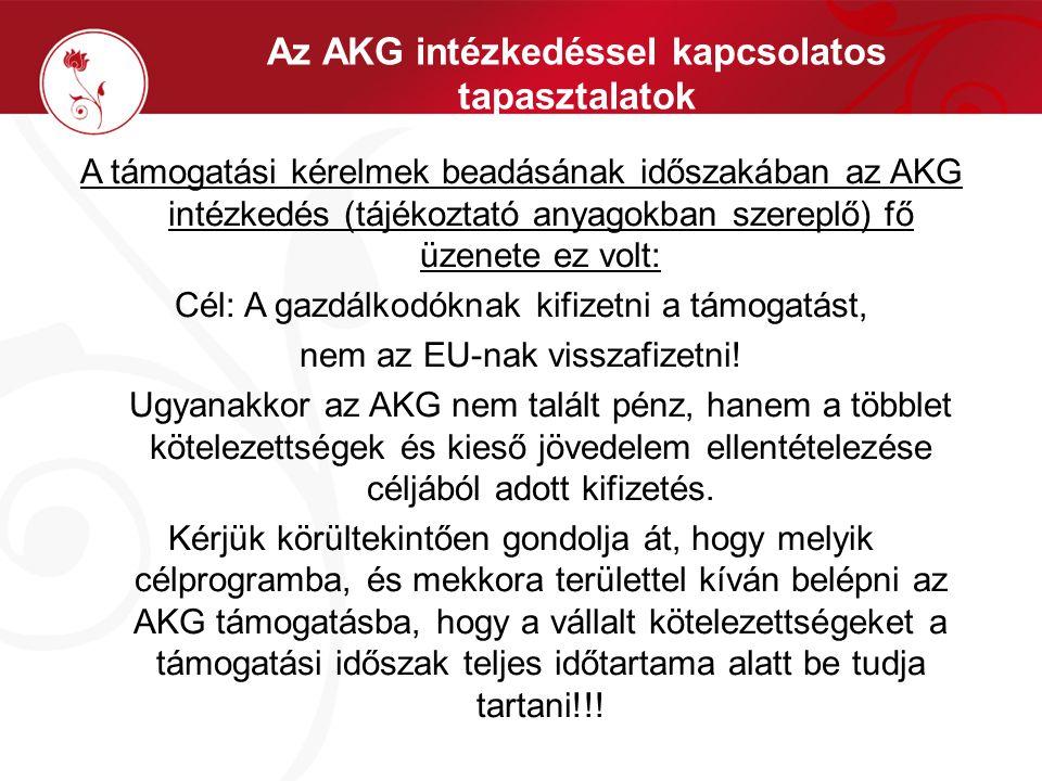 Az AKG intézkedéssel kapcsolatos tapasztalatok A támogatási kérelmek beadásának időszakában az AKG intézkedés (tájékoztató anyagokban szereplő) fő üze