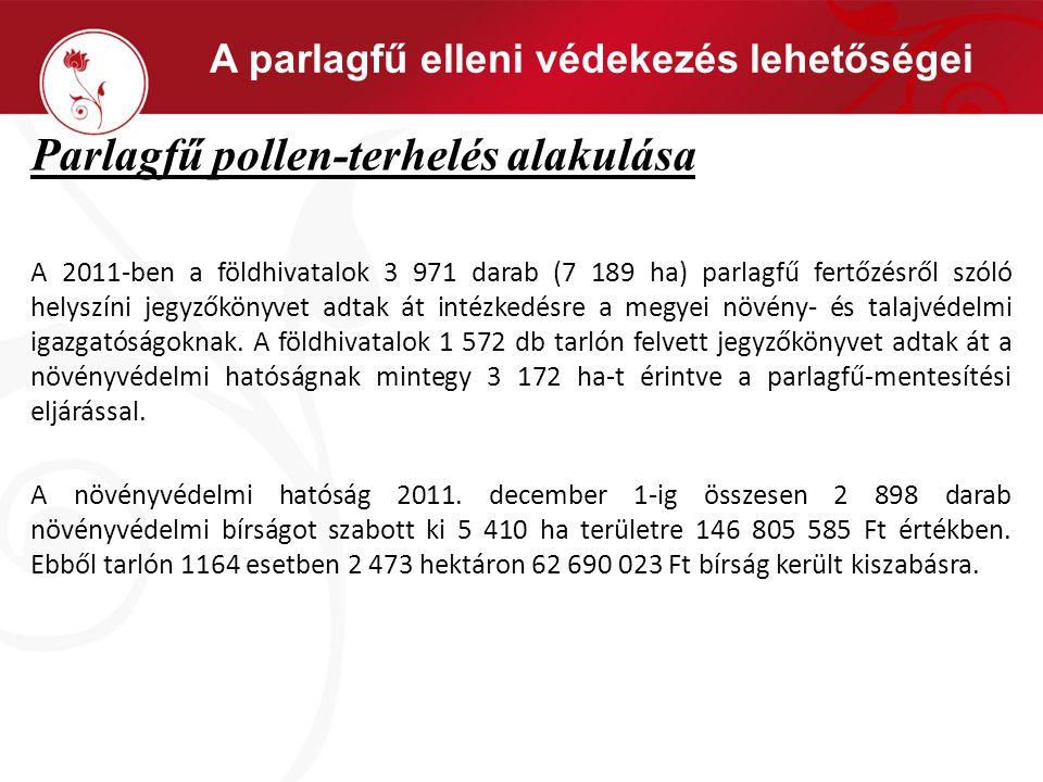 A parlagfű elleni védekezés lehetőségei Parlagfű pollen-terhelés alakulása A 2011-ben a földhivatalok 3 971 darab (7 189 ha) parlagfű fertőzésről szól
