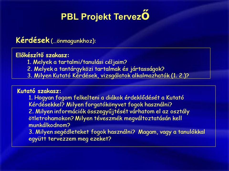 PBL Projekt Tervez ő Kérdések (…önmagunkhoz): Előkészítő szakasz: 1.