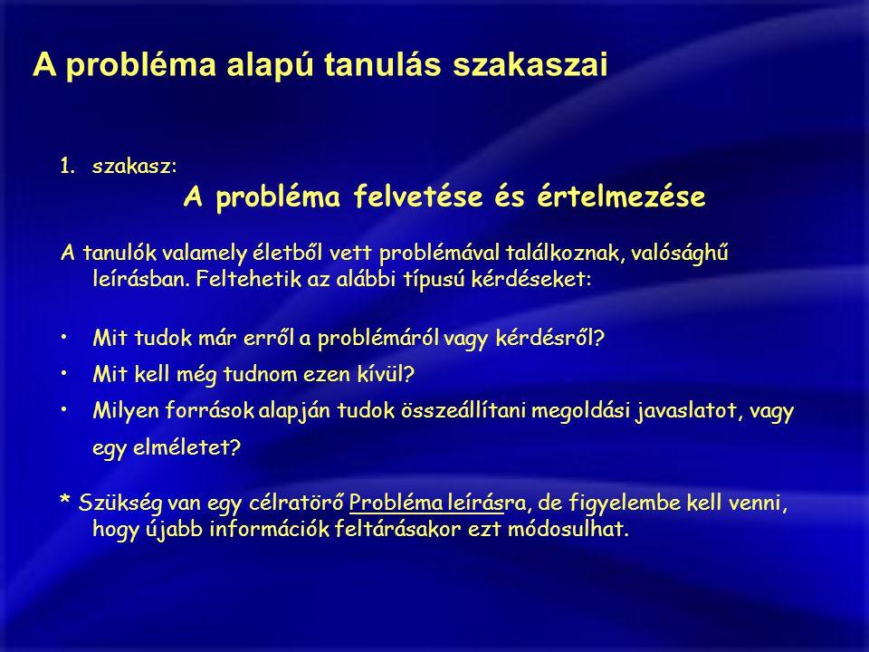 A probléma alapú tanulás szakaszai 1.szakasz: A probléma felvetése és értelmezése A tanulók valamely életből vett problémával találkoznak, valósághű leírásban.