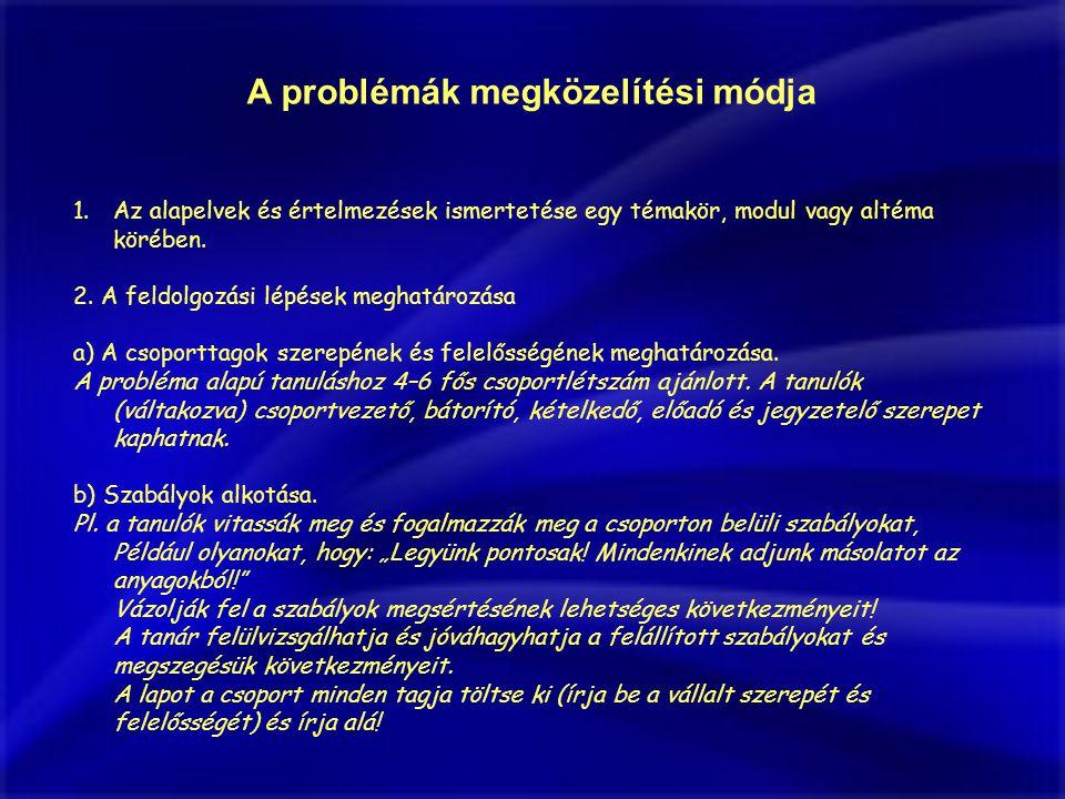 A problémák megközelítési módja 1.Az alapelvek és értelmezések ismertetése egy témakör, modul vagy altéma körében.