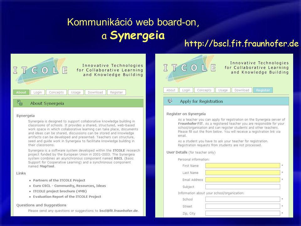 Kommunikáció web board-on, a Synergeia http://bscl.fit.fraunhofer.de