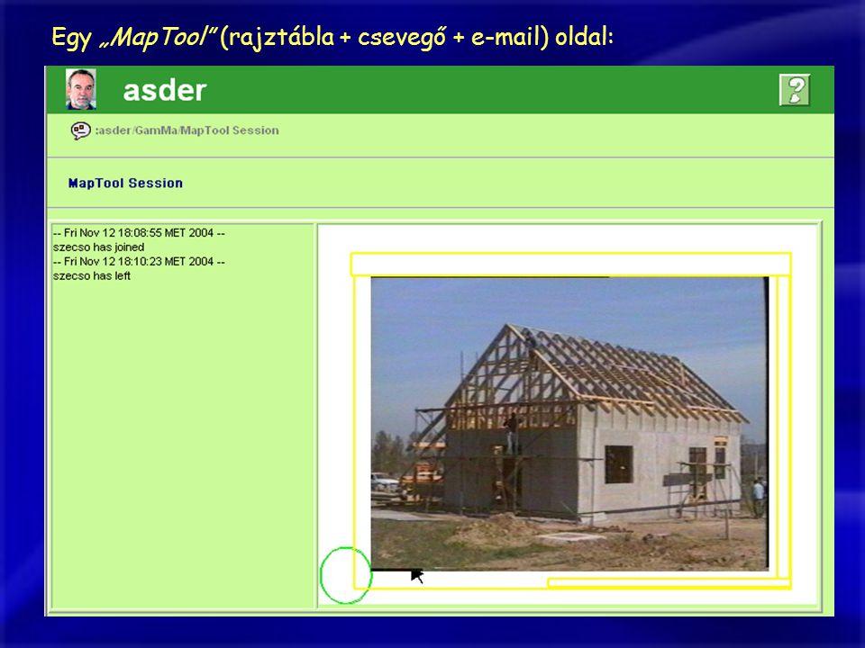 """Egy """"MapTool (rajztábla + csevegő + e-mail) oldal:"""