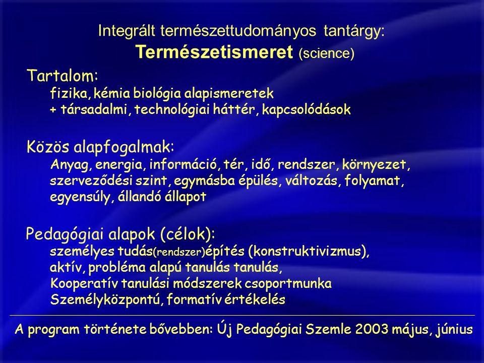 Integrált természettudományos tantárgy: Természetismeret (science) Tartalom: fizika, kémia biológia alapismeretek + társadalmi, technológiai háttér, kapcsolódások Közös alapfogalmak: Anyag, energia, információ, tér, idő, rendszer, környezet, szerveződési szint, egymásba épülés, változás, folyamat, egyensúly, állandó állapot Pedagógiai alapok (célok): személyes tudás (rendszer) építés (konstruktivizmus), aktív, probléma alapú tanulás tanulás, Kooperatív tanulási módszerek csoportmunka Személyközpontú, formatív értékelés A program története bővebben: Új Pedagógiai Szemle 2003 május, június