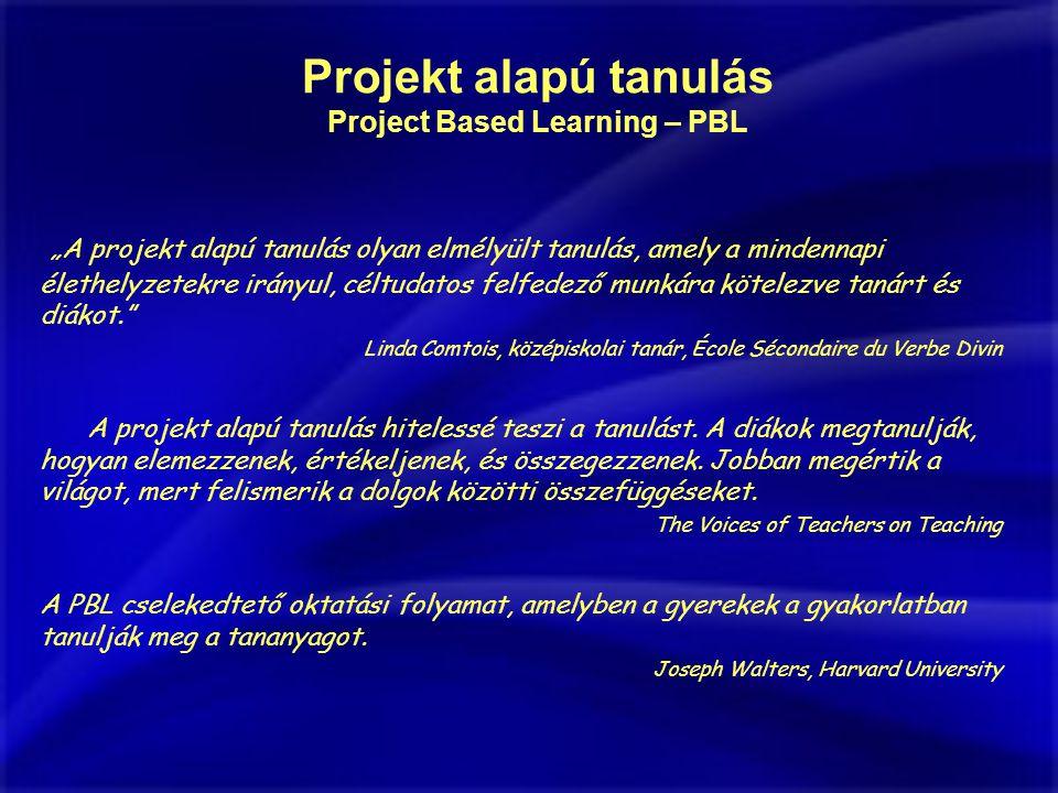 """""""A projekt alapú tanulás olyan elmélyült tanulás, amely a mindennapi élethelyzetekre irányul, céltudatos felfedező munkára kötelezve tanárt és diákot. Linda Comtois, középiskolai tanár, École Sécondaire du Verbe Divin A projekt alapú tanulás hitelessé teszi a tanulást."""