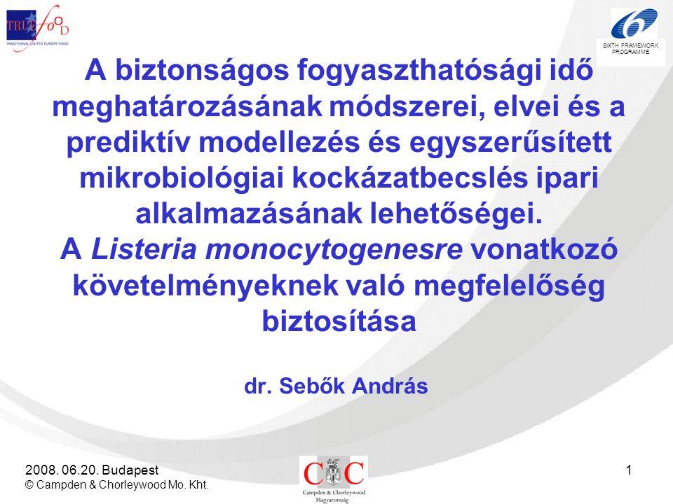 SIXTH FRAMEWORK PROGRAMME 2008. 06.20. Budapest © Campden & Chorleywood Mo. Kht. 1 A biztonságos fogyaszthatósági idő meghatározásának módszerei, elve