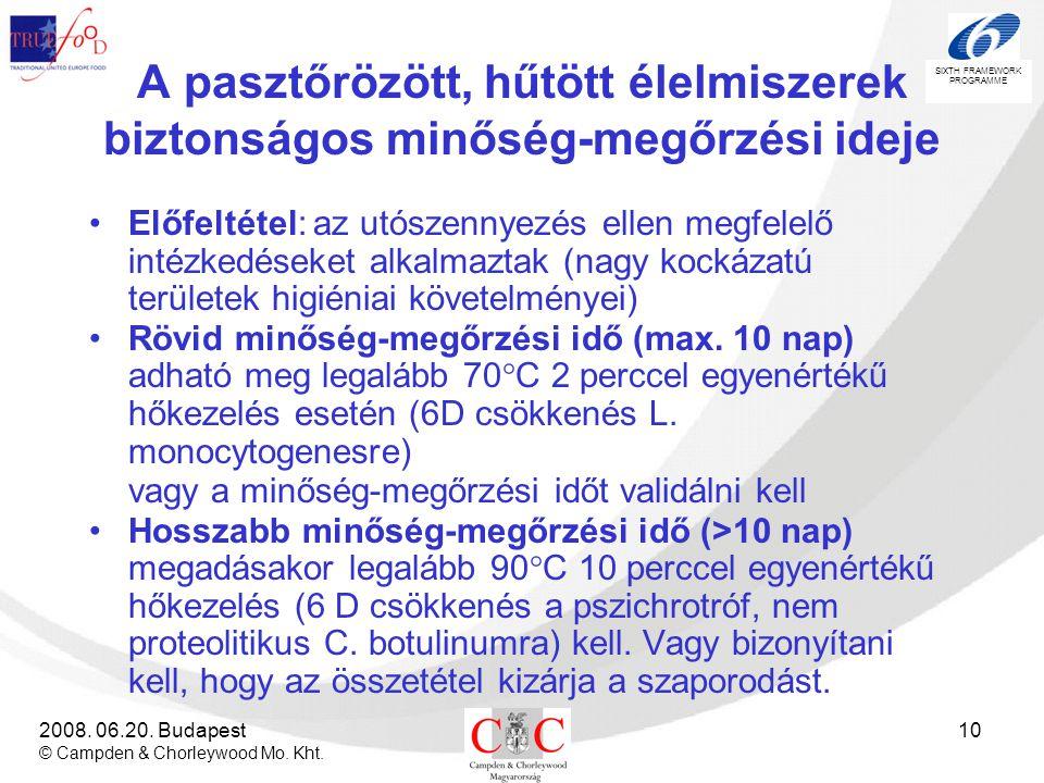 SIXTH FRAMEWORK PROGRAMME 2008. 06.20. Budapest © Campden & Chorleywood Mo. Kht. 10 A pasztőrözött, hűtött élelmiszerek biztonságos minőség-megőrzési