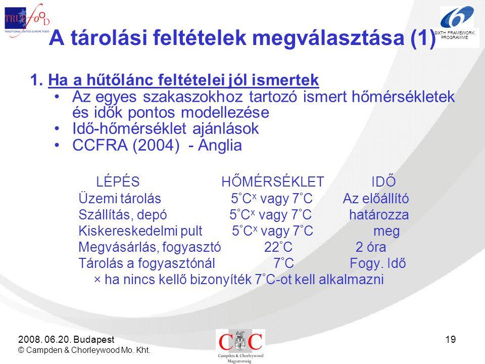 SIXTH FRAMEWORK PROGRAMME 2008. 06.20. Budapest © Campden & Chorleywood Mo. Kht. 19 A tárolási feltételek megválasztása (1) 1.Ha a hűtőlánc feltételei