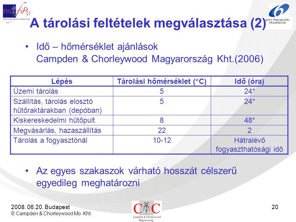 SIXTH FRAMEWORK PROGRAMME 2008. 06.20. Budapest © Campden & Chorleywood Mo. Kht. 20 A tárolási feltételek megválasztása (2) •Idő – hőmérséklet ajánlás
