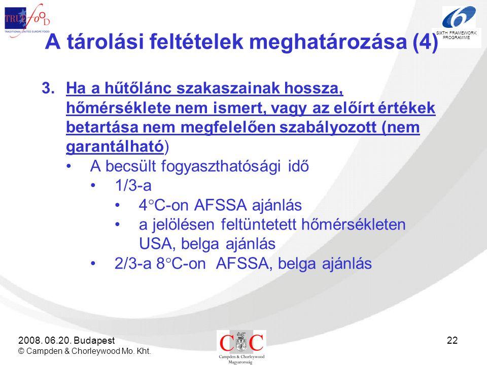 SIXTH FRAMEWORK PROGRAMME 2008. 06.20. Budapest © Campden & Chorleywood Mo. Kht. 22 A tárolási feltételek meghatározása (4) 3.Ha a hűtőlánc szakaszain