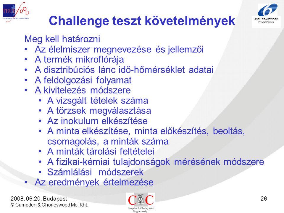 SIXTH FRAMEWORK PROGRAMME 2008. 06.20. Budapest © Campden & Chorleywood Mo. Kht. 26 Challenge teszt követelmények Meg kell határozni •Az élelmiszer me