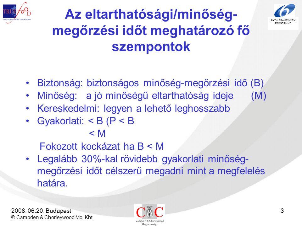 SIXTH FRAMEWORK PROGRAMME 2008. 06.20. Budapest © Campden & Chorleywood Mo. Kht. 3 Az eltarthatósági/minőség- megőrzési időt meghatározó fő szempontok