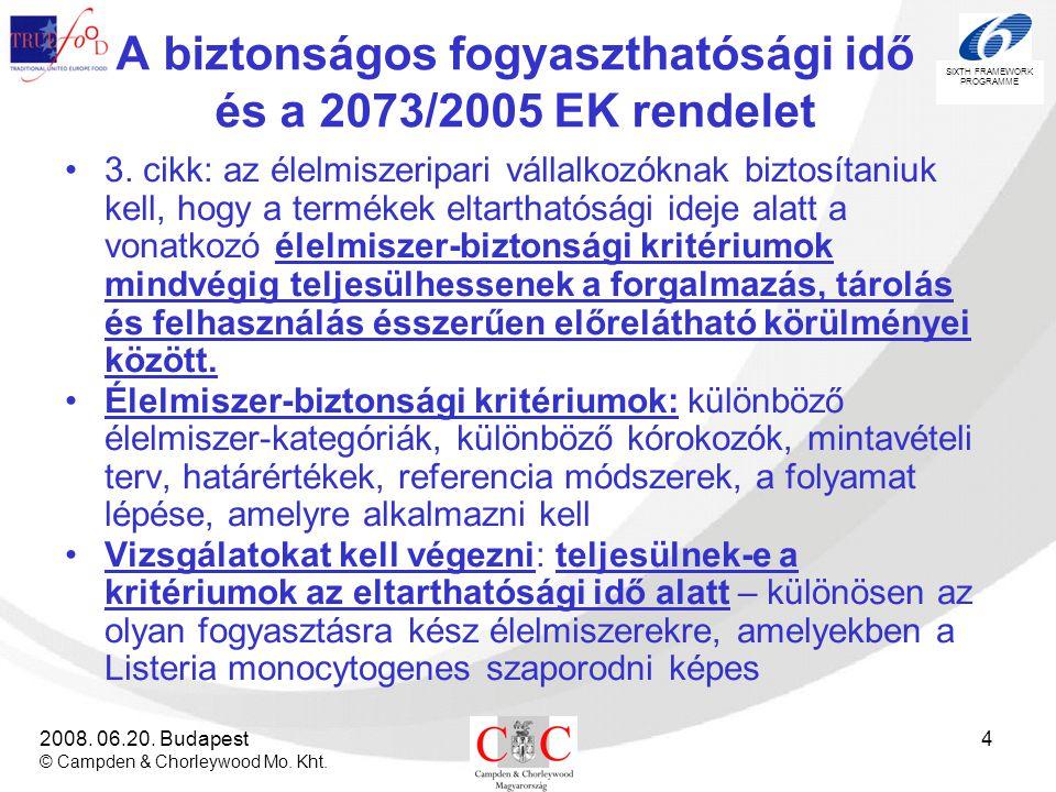 SIXTH FRAMEWORK PROGRAMME 2008. 06.20. Budapest © Campden & Chorleywood Mo. Kht. 4 A biztonságos fogyaszthatósági idő és a 2073/2005 EK rendelet •3. c