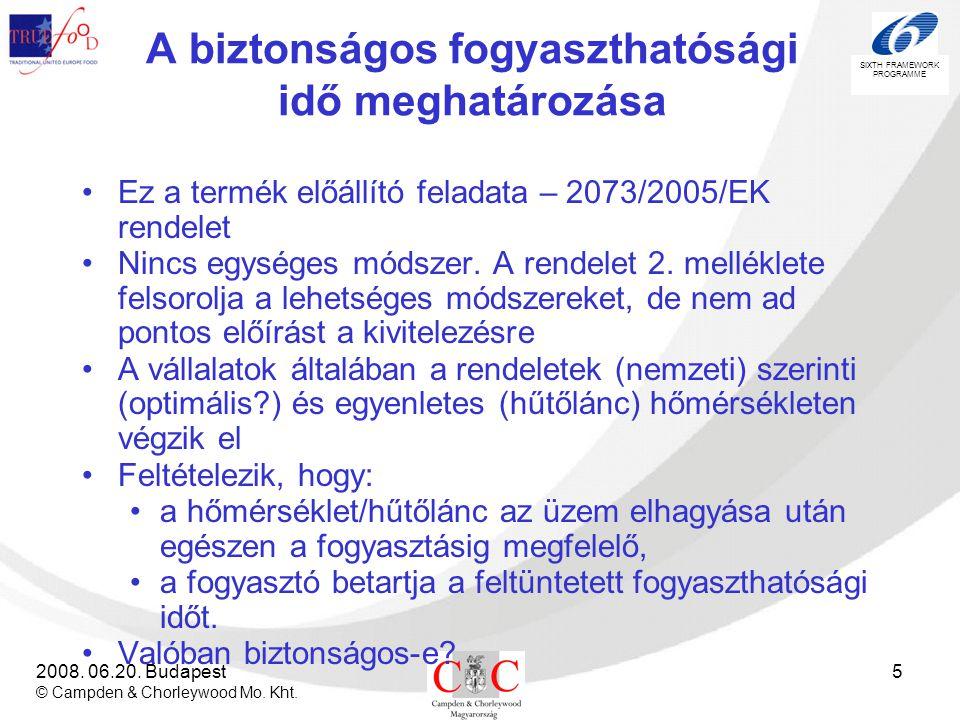 SIXTH FRAMEWORK PROGRAMME 2008. 06.20. Budapest © Campden & Chorleywood Mo. Kht. 5 A biztonságos fogyaszthatósági idő meghatározása •Ez a termék előál