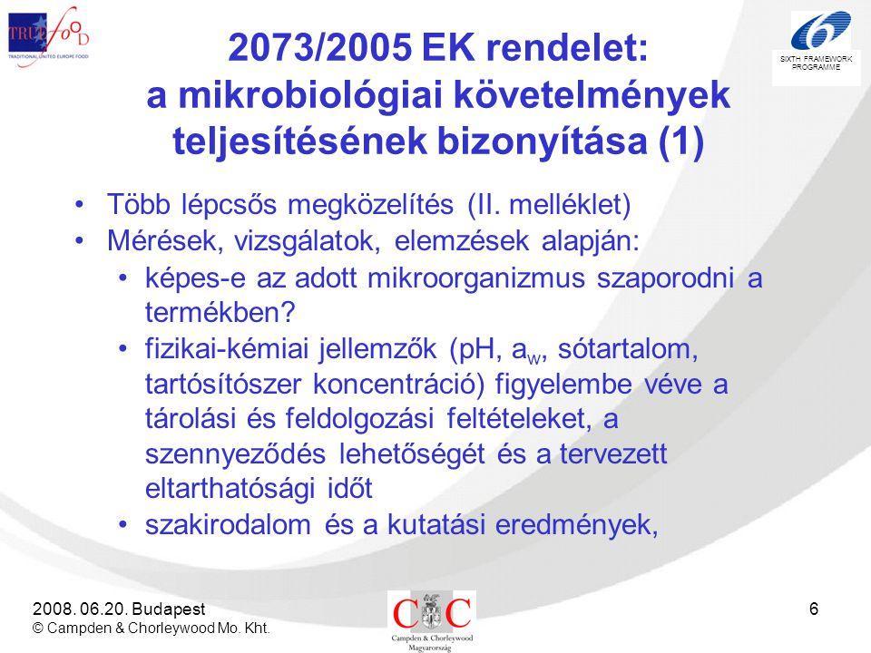 SIXTH FRAMEWORK PROGRAMME 2008. 06.20. Budapest © Campden & Chorleywood Mo. Kht. 6 2073/2005 EK rendelet: a mikrobiológiai követelmények teljesítéséne