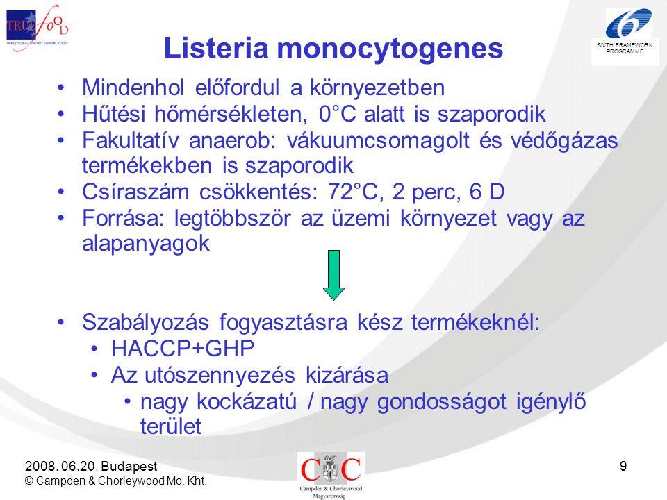 SIXTH FRAMEWORK PROGRAMME 2008. 06.20. Budapest © Campden & Chorleywood Mo. Kht. 9 Listeria monocytogenes •Mindenhol előfordul a környezetben •Hűtési