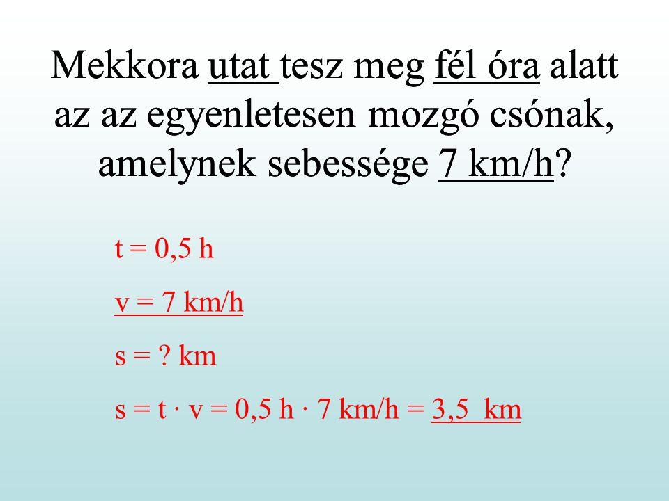 Mekkora utat tesz meg fél óra alatt az az egyenletesen mozgó csónak, amelynek sebessége 7 km/h? t = 0,5 h v = 7 km/h s = ? km s = t · v = 0,5 h · 7 km