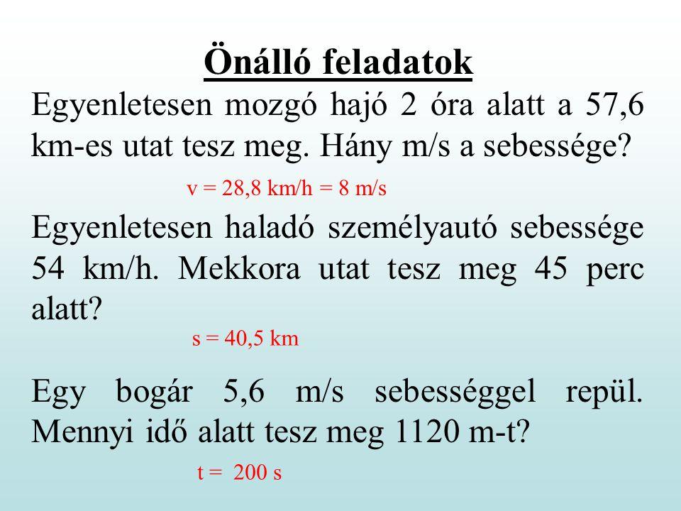 Önálló feladatok Egyenletesen mozgó hajó 2 óra alatt a 57,6 km-es utat tesz meg. Hány m/s a sebessége? Egyenletesen haladó személyautó sebessége 54 km