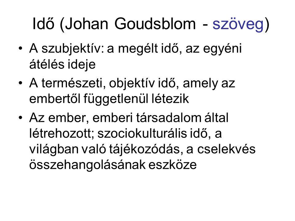 Idő (Johan Goudsblom - szöveg) •A szubjektív: a megélt idő, az egyéni átélés ideje •A természeti, objektív idő, amely az embertől függetlenül létezik
