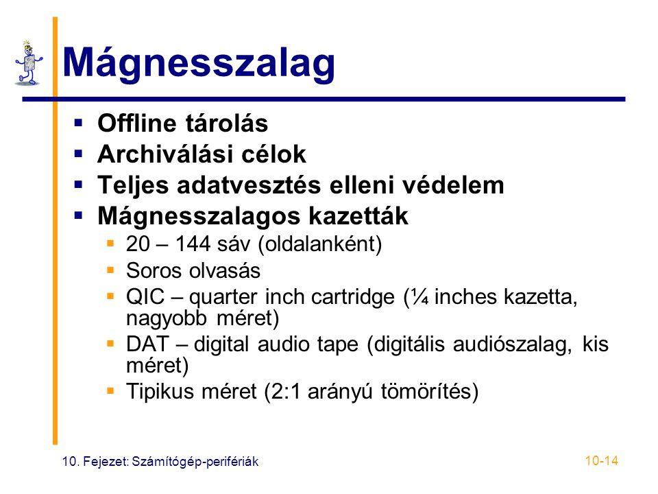 10. Fejezet: Számítógép-perifériák 10-14 Mágnesszalag  Offline tárolás  Archiválási célok  Teljes adatvesztés elleni védelem  Mágnesszalagos kazet