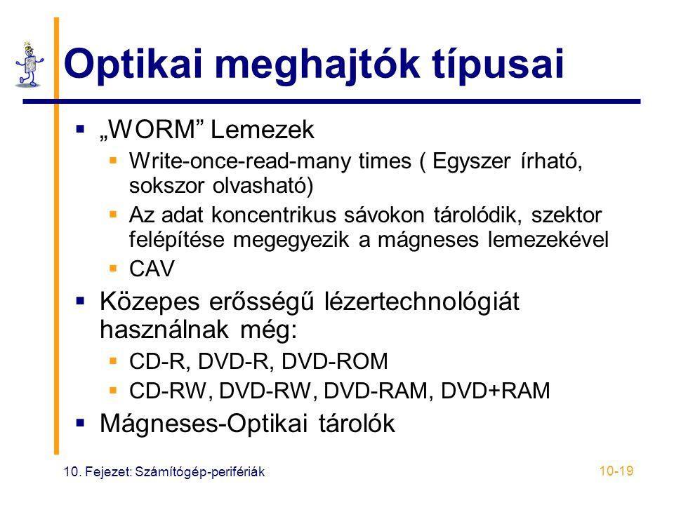 """10. Fejezet: Számítógép-perifériák 10-19 Optikai meghajtók típusai  """"WORM"""" Lemezek  Write-once-read-many times ( Egyszer írható, sokszor olvasható)"""