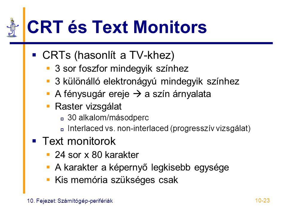 10. Fejezet: Számítógép-perifériák 10-23 CRT és Text Monitors  CRTs (hasonlít a TV-khez)  3 sor foszfor mindegyik színhez  3 különálló elektronágyú