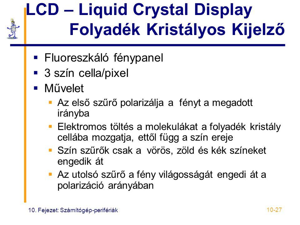 10. Fejezet: Számítógép-perifériák 10-27 LCD – Liquid Crystal Display Folyadék Kristályos Kijelző  Fluoreszkáló fénypanel  3 szín cella/pixel  Műve