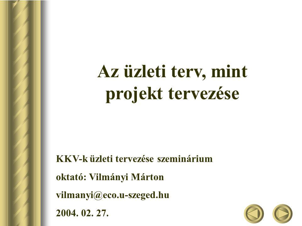Az üzleti terv, mint projekt tervezése KKV-k üzleti tervezése szeminárium oktató: Vilmányi Márton vilmanyi@eco.u-szeged.hu 2004.