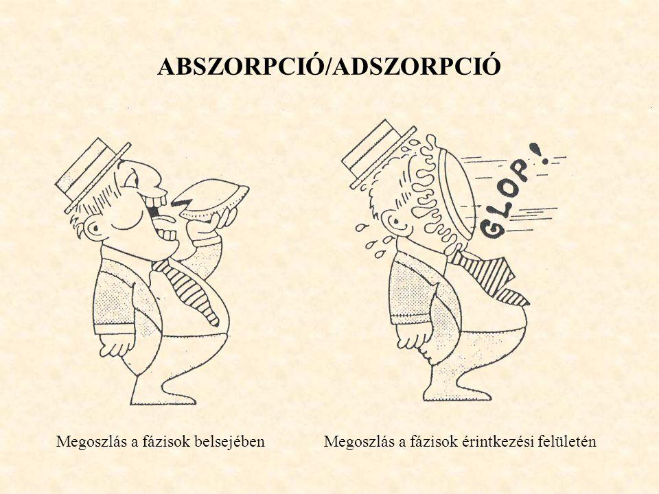 ABSZORPCIÓ/ADSZORPCIÓ Megoszlás a fázisok belsejében Megoszlás a fázisok érintkezési felületén