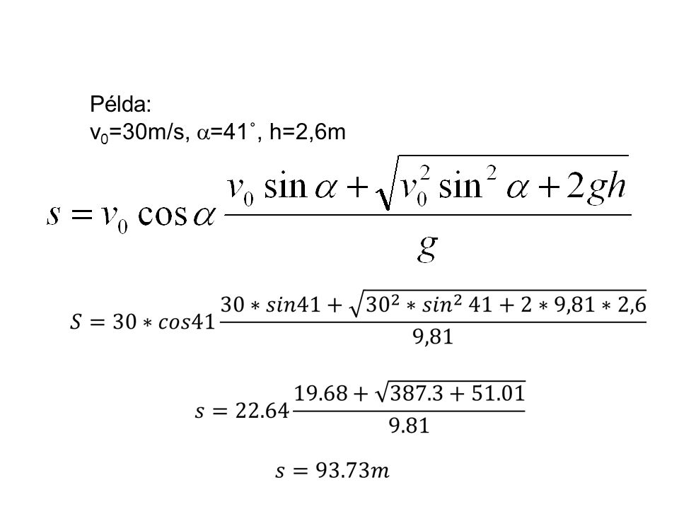 A kirepülési szög és a leérkezési hely jelentősége Kiindulási paraméterek : v 0  h
